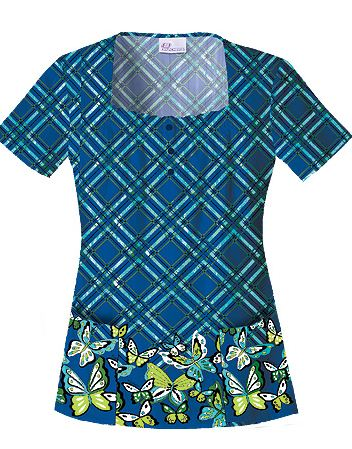 25713FLY Skechers Flying Through Plaid Square Neck Top