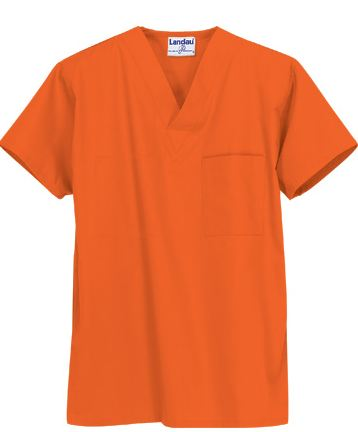 7502 Landau Unisex V-Neck Scrub Top In Orange