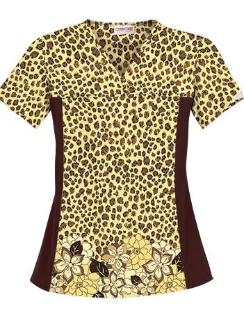 Cherokee Flexibles Women's Leopard Chic Cotton Print Scrub Top 2789LCHI