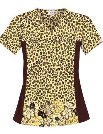 Cherokee Flexibles Women's Leopard Chic Cotton Print Scrub Top 2789LCHI