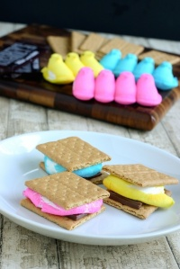 Peeps S'moresRecipe: http://eclecticrecipes.com/peeps-smores-for-easter