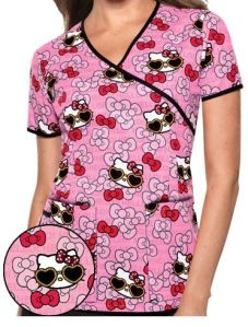 Cherokee Tooniforms Hello Kitty Summer Fun Print Scrub Top