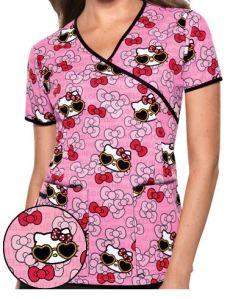 Cherokee Tooniforms Hello Kitty Summer Fun Print Scrub Top