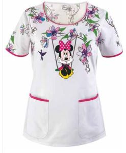 Cherokee Tooniforms Swinging Minnie Scoop Neck Scrub Top
