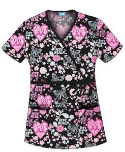 Medical Scrubs Mall Cherokee HQ Scrubs Let Your Heart Soar Mock Wrap Top
