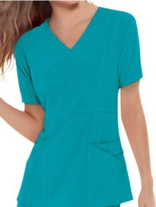 Cherokee Perfect STRETCH Ladies Mock Wrap Scrub Top; Style # 1939 found on MedicalScrubsMall.com