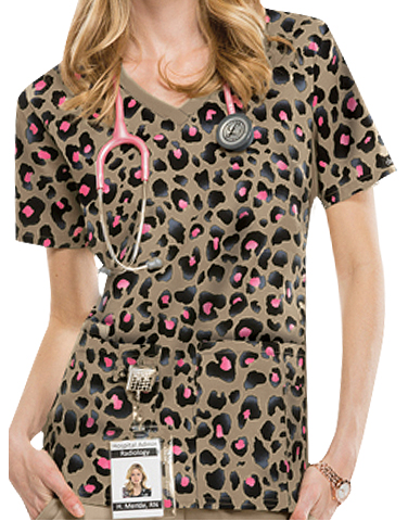 MSM Cherokee Flexibles Cheetah Chic V-Neck Print Scrub Top found on MedicalScrubsMall.com