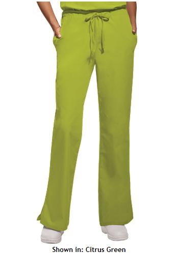 MSM Cherokee Workwear Women's Flare Leg Drawstring w Elastic Back Pant, Style 4101 found on MedicalScrubsMall.com