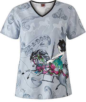 MSM100214 Cherokee Tooniforms Carousel Betty Print V-Neck Top, Style# 6843BECR found on blog.medicalscrubsmall.com