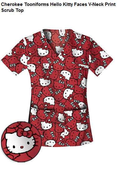 Cherokee Tooniforms Hello Kitty Faces V-Neck Print Scrub Top found on medicalscrubsmall.com