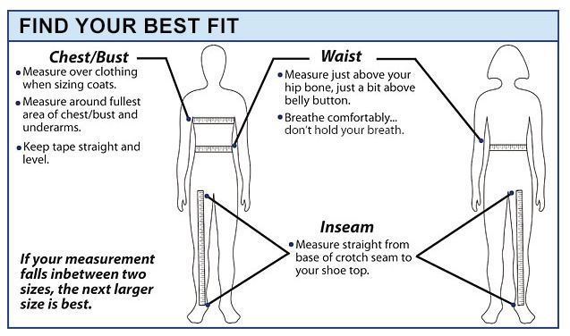 medical scrubs mall size chart
