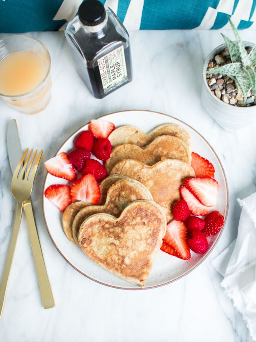 HEART SHAPED WHOLE WHEAT BANANA PANCAKES by Flourishing Foodie
